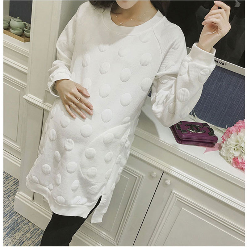 Long Sleeve T-shirt for Pregnant Women Dress Maternity Clothes Autumn Loose Casual Dot Dresses Casual Gown Maternity Clothing