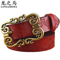 Women fashion genuine leather belt Cowskin Retro print belts vintage floral alloy pin buckle elegant woman belt