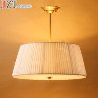 M E27 3 Led Bulb Full Copper Fabric Shade Restaurant Lighting Modern Minimalist Study Dining Room