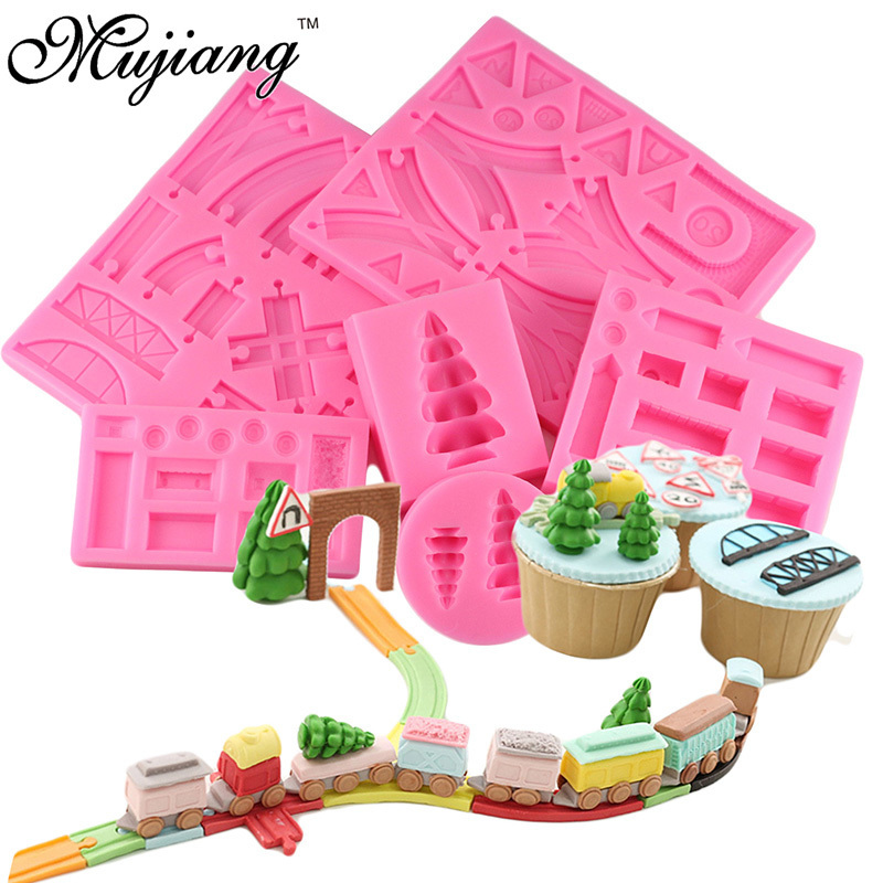 DIY Creative 6Pcs Baby Birthday Cake Decorating 3D Train Track Pine Fondant Silicone Molds Chocolate Candy Gumpaste Clay Moulds