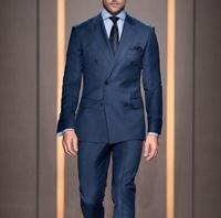 Последние конструкции пальто брюки Темно синие двубортный Формальные Пользовательские свадебный костюм для Для мужчин дружки Тощий 2 шт.