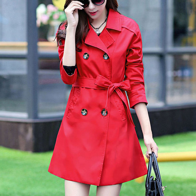SETWIGG 2017 Spring Women Cotton Long Trench Coat  Female Double-breasted Sashes Waisr Bow Medium-Long Jacket & Trench Overcoat