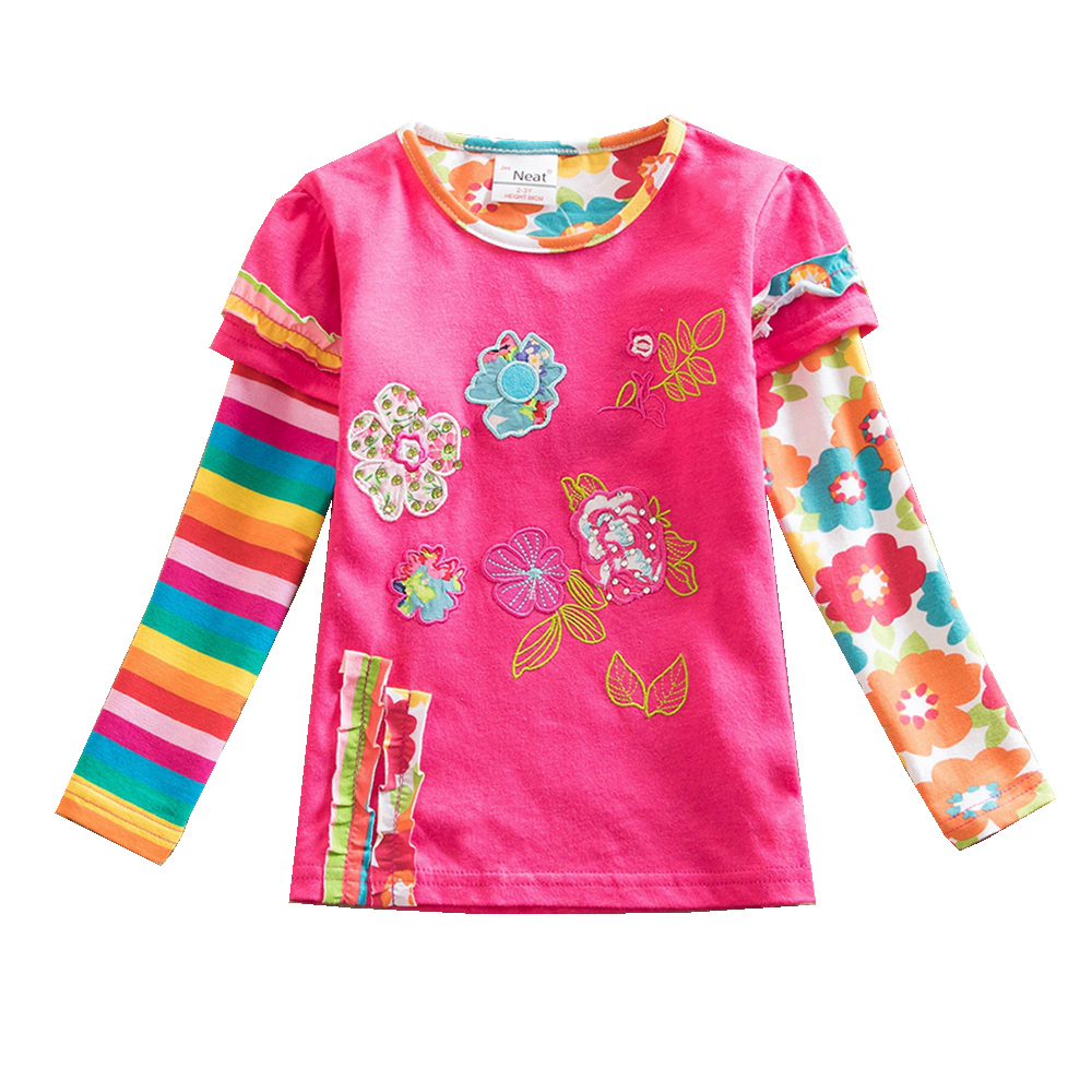 Girls long-sleeved T-shirt cotton embroidered girls for small medium-sized girls wearing T-shirts long girl 3-7Y L220