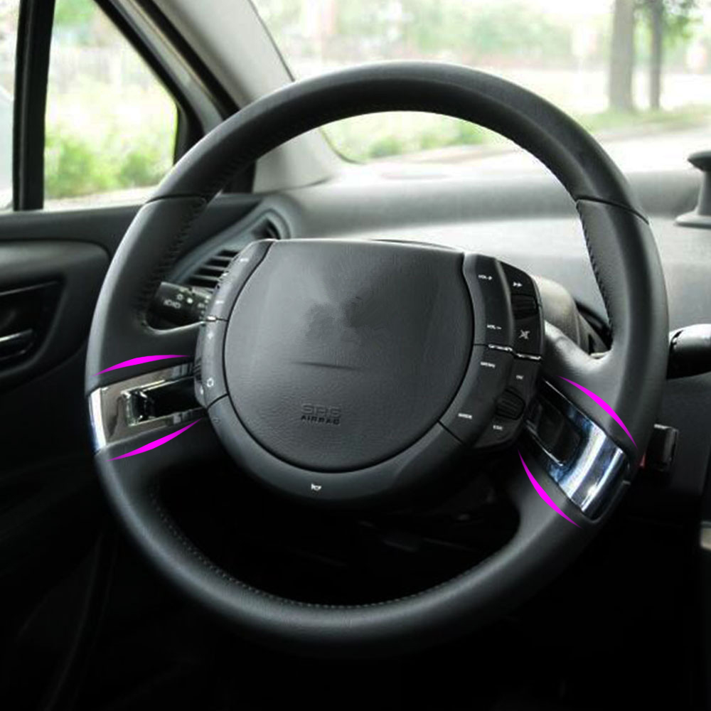 Zlord ABS Chrome Steering Wheel Cover Stickers Car Trim Sticker for <font><b>Citroen</b></font> <font><b>C4</b></font> Classic 2012 - <font><b>2016</b></font> Parts Car Styling image