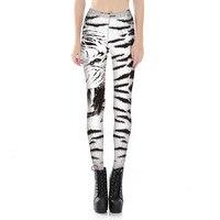 Femmes Blanc Tigre Imprimer Leggings Fitness Workout Pom-Pom Girl Rooter Pantalon Hiphop Partie Élastique Fiber Unisexe Pantalon