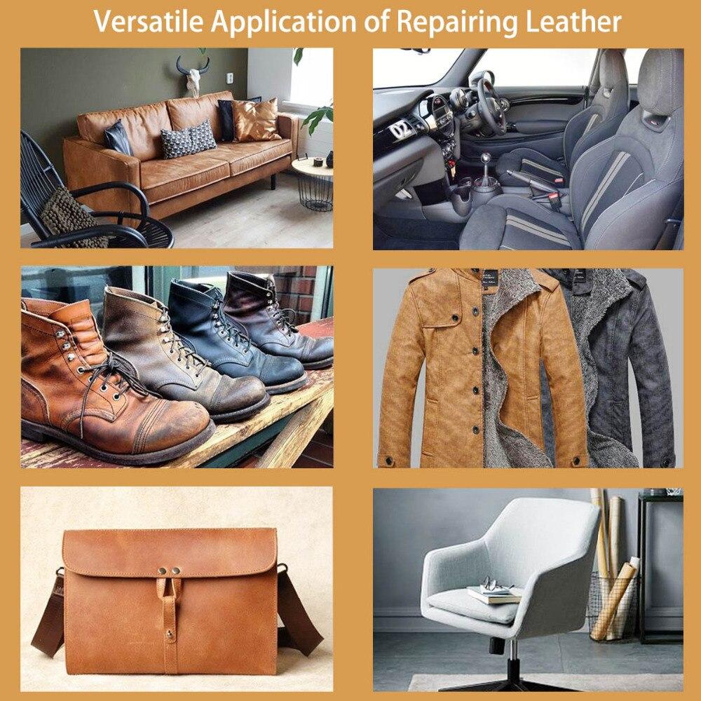 Купить с кэшбэком VISBELLA 2 pcs Leather Vinyl Repair Kit Glue Paste for Car Repair Seat Clothing Boot Rip fix Crack Cuts with 10pcs Patch Sealers