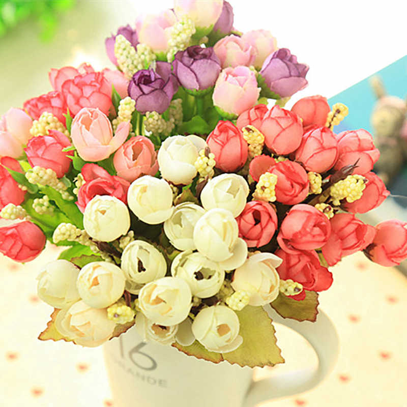 15 Heads Mini Rose Colorful Silk Artificial Flower Home Decor For Wedding Small Roses Bouquet Decoration Display Flower
