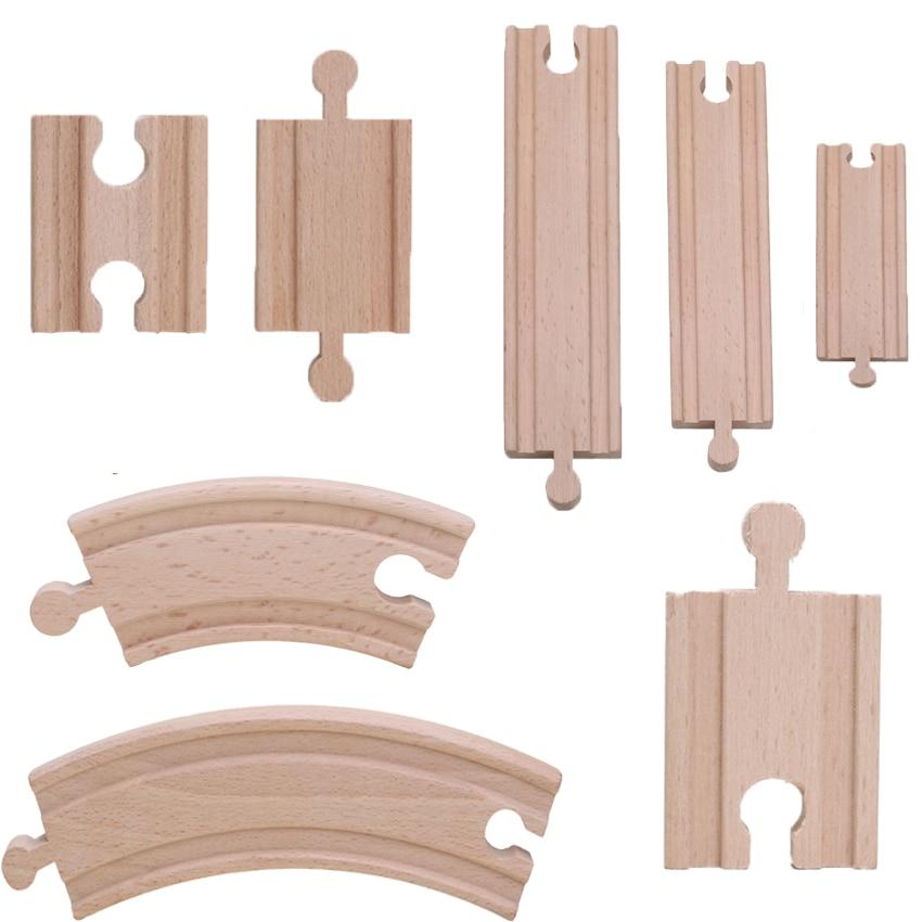 Friends 10pcs Wooden Straight Track Wooden Train Tracks Set Train Accessories Track Pieces Blocks Toys bloques de