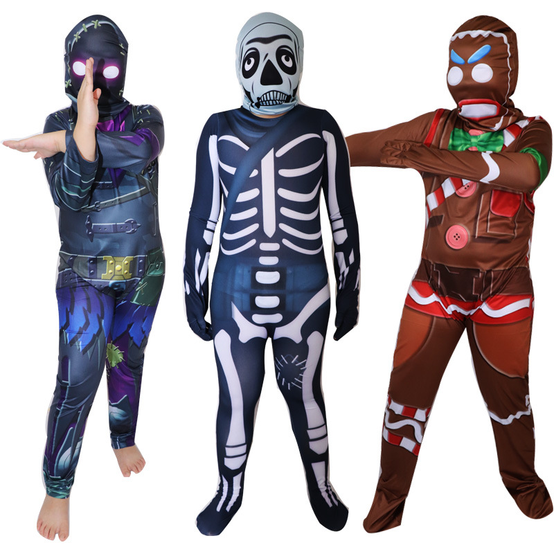 Skull Trooper Gingerbread Man Costume Carnival Halloween Christmas Costume For Kids Birthday Party Cosplay Fancy Jumpsuits Mask