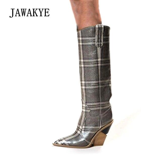 Hakiki Deri Yılan Derisi Diz Yüksek Çizmeler Kadın Tasarımcı Sivri Burun Takozlar Yüksek Topuklu Ayakkabılar Kadın Kış Uzun Botas Feminina
