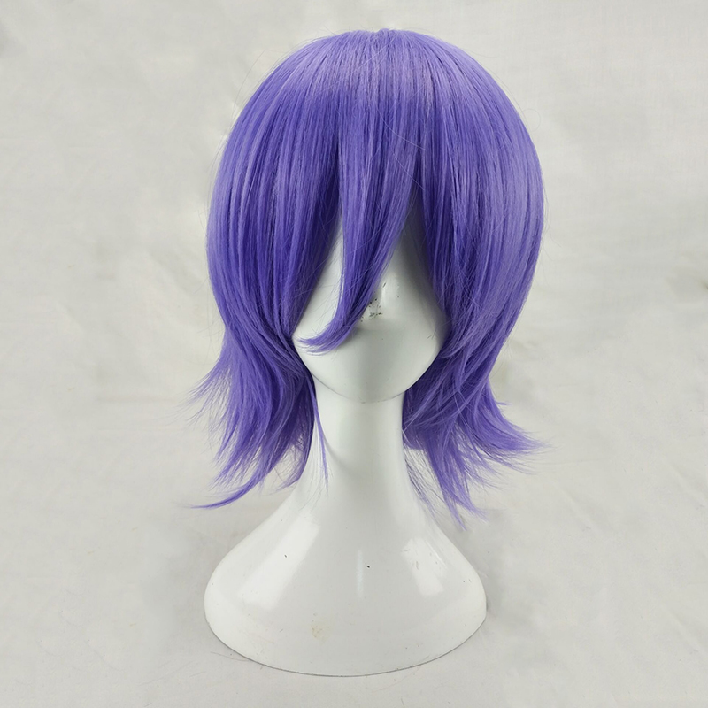 HAIRJOY Man Women Purple Cosplay Wig Short Curly Layered Synthetic Hair Party Wigs with Bangs 10 Colors Available Free Shipping 2