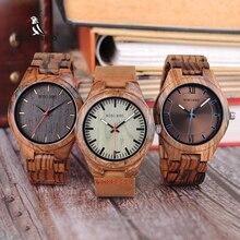 Bobo pássaro relógio de madeira men relogio masculino design especial relógios quartzo na caixa de presentes de madeira W Q05 transporte da gota
