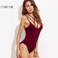 COLROVIE Strappy Cross Front Basic Bodysuit Women Burgundy Sexy Skinny Cami Bodysuits 2017 V Neck Sleeveless