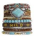 Nova Moda Hipanem Pulseiras por handmade para As Mulheres Corda & Beads Charm Bracelet Bohemia Estilo Ímã Fazer O LOGOTIPO HIP228
