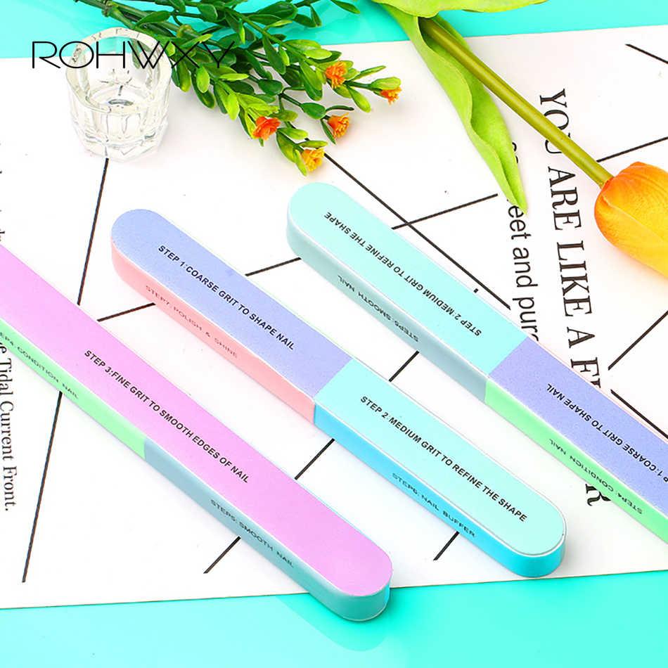 ROHWXY 1/5 pcs 100/180 נייל קבצי סט כפול צד מלטש הצפת לחסום קבצי לכל UV ג 'ל לק מניקור כלי