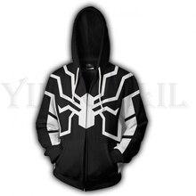 Men and Women Zip Up Hoodies Venom Spiderman 3d Print Hooded Jacket Mravel 4 Movie Superheroes Sweatshirt  Streetwear Costume
