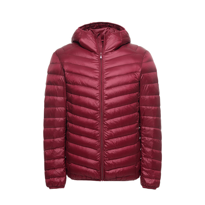 Autumn Winter Mens Ultralight White Duck Down Jacket Casual Solid Hooded Brand Male Warm Windproof Coat Fashion Outwear