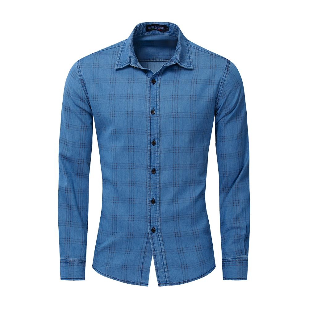 Cotton Casual Plaid Men's Long Sleeve Slim Fit Button Padding Plaid Shirts For Men Shirt Long Sleeve