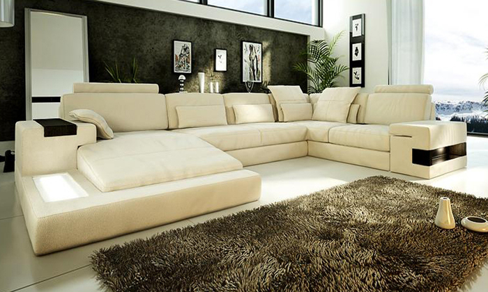 New Extra Wide Seat Deep Corner Leather Sofa In Living