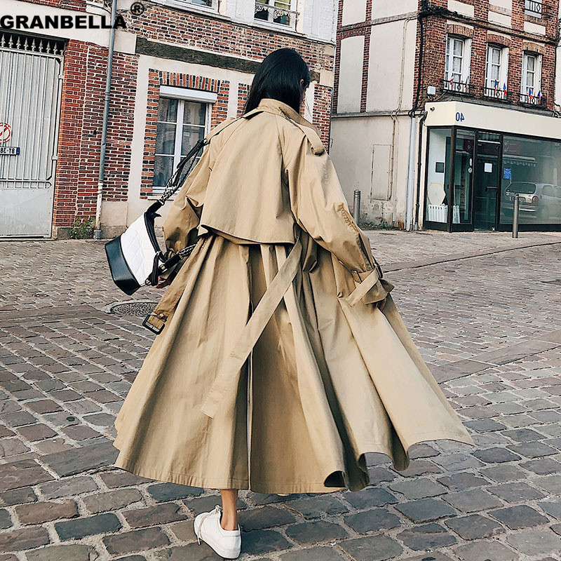 Women British Double Breasted Slim Long Trench Coat Windbreaker stylish Fashion ladies double breasted Long overcoats cloak