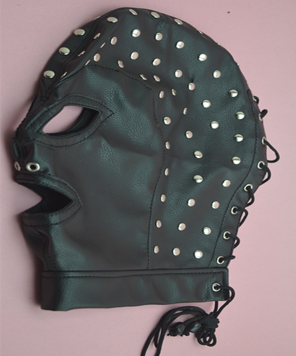 Adjustable PVC Leather Hood Mask Head Bondage Belt Slave In Adult Games , Fetish Sex Products Toys For Men And Women - AW6