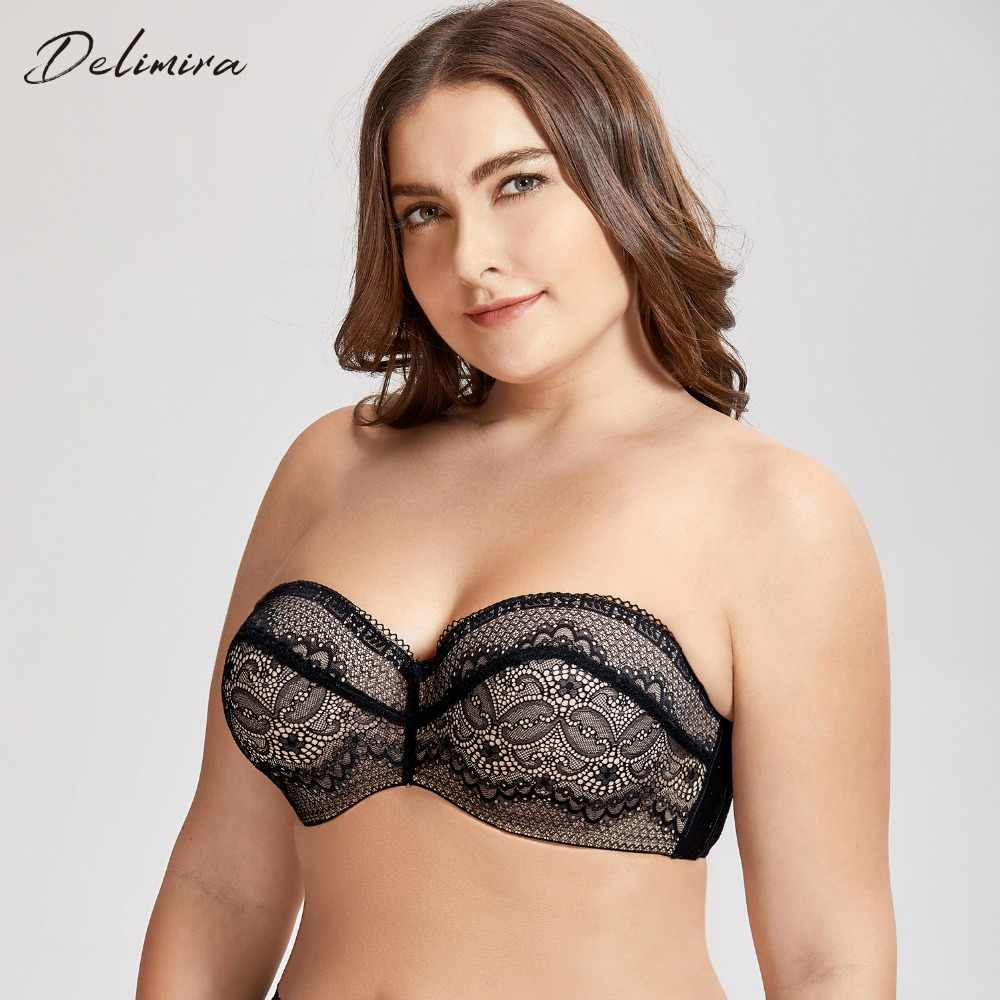 7495c3667b0 DELIMIRA Women s Slightly Padded Underwire Convertible Multiway Lace Strapless  Bra