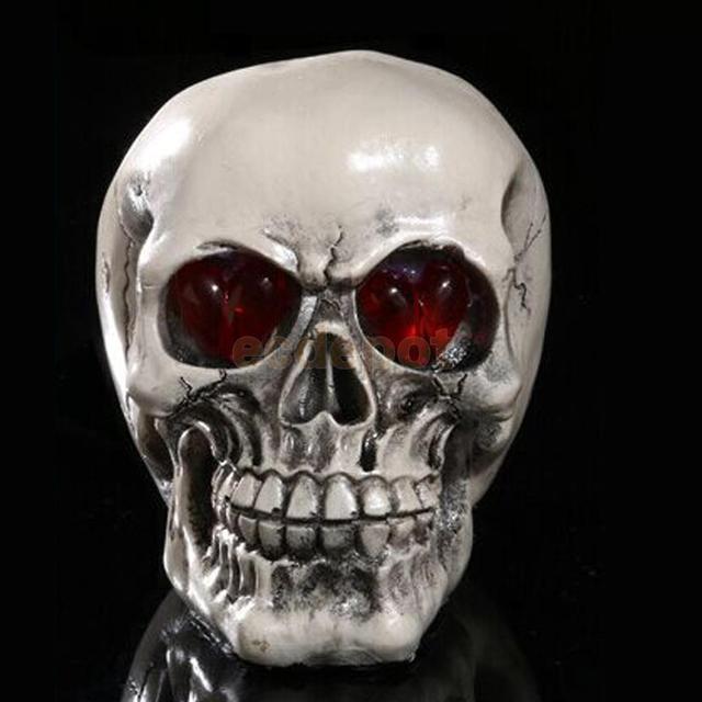 LED Skull Gothic Ornament Figurine Human Skeleton Head Halloween Decor #4