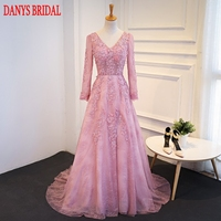Pink Long Sleeve Lace Evening Dresses Long Party Beaded Women Unique Formal Evening Gowns Dresses On