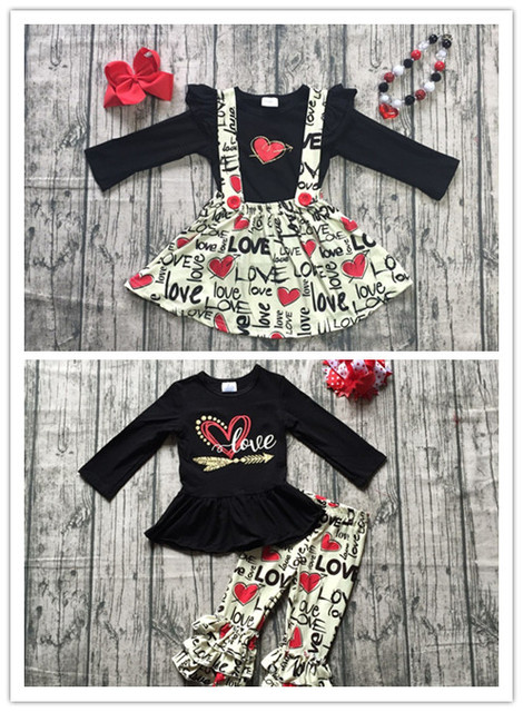 Designs Fall Winter Baby Girls Valentines Day Clothes Children Black Top With Skirts