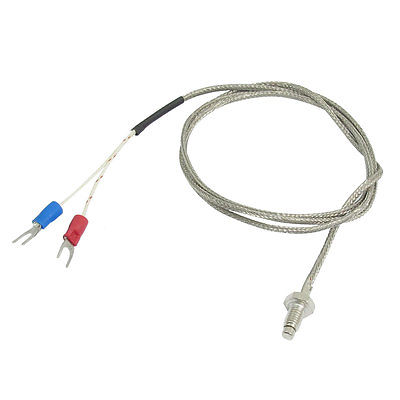 K Type Nylon Braided 600C 6mm Screw Thermocouple Temperature Sensor 1M 3.3Ft 2000 1850m wrn 230 k type fabricated thermocouple industrial temperature sensor with screw