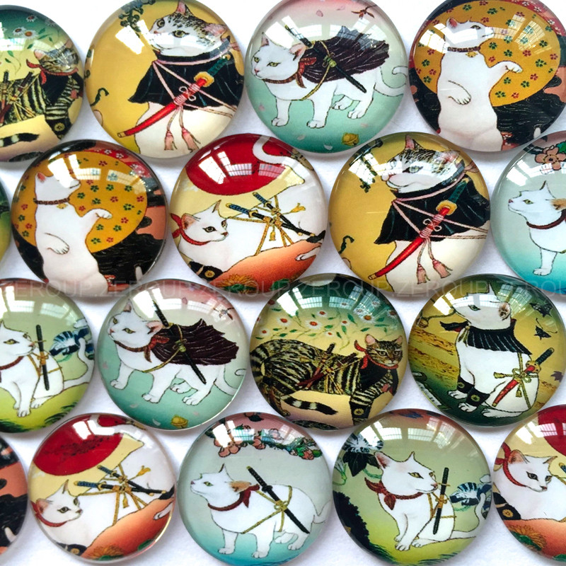 ZEROUP round glass cabochon cat pictures mixed pattern fit cameo base setting for jewelry flatback 20pcs/lot TP-063-R