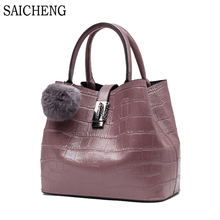 SAICHENG Women Bag With Fur Ball Women's Handbags High Quality Designer Bucket Leather Bag Ladies Shoulder Bags sac a main