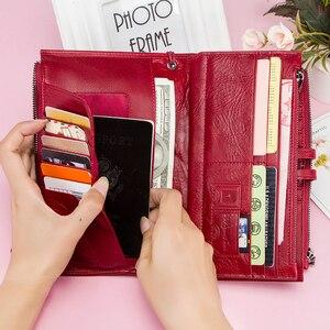 Image 3 - الهاتف المحمول حقيبة صغيرة للسيدات جلد طبيعي النساء الهاتف محافظ كبيرة حمراء سستة محفظة نسائية للعملات المعدنية حامل بطاقة ثلاثية أضعاف محفظة طويلة