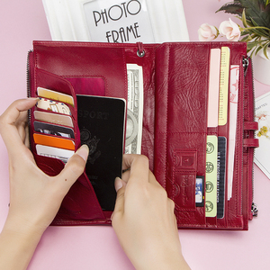 Image 3 - Cellphone Clutch Bag For Ladies Genuine Leather Women Phone Wallets Large Red Zipper Coin Purse Card Holder Trifold Long Wallet