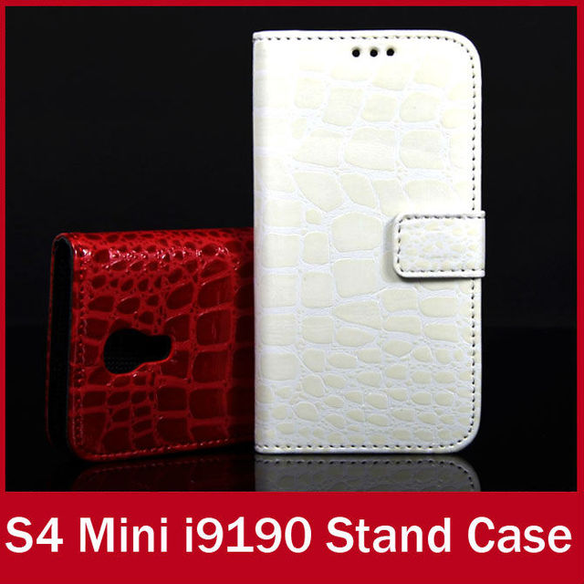 Luxury Mobile Phone Crocodile pu Leather Wallet Case For Samsung i9190 Galaxy S4 Mini Stand Card Holder Cover Flip FREE SHIPPING