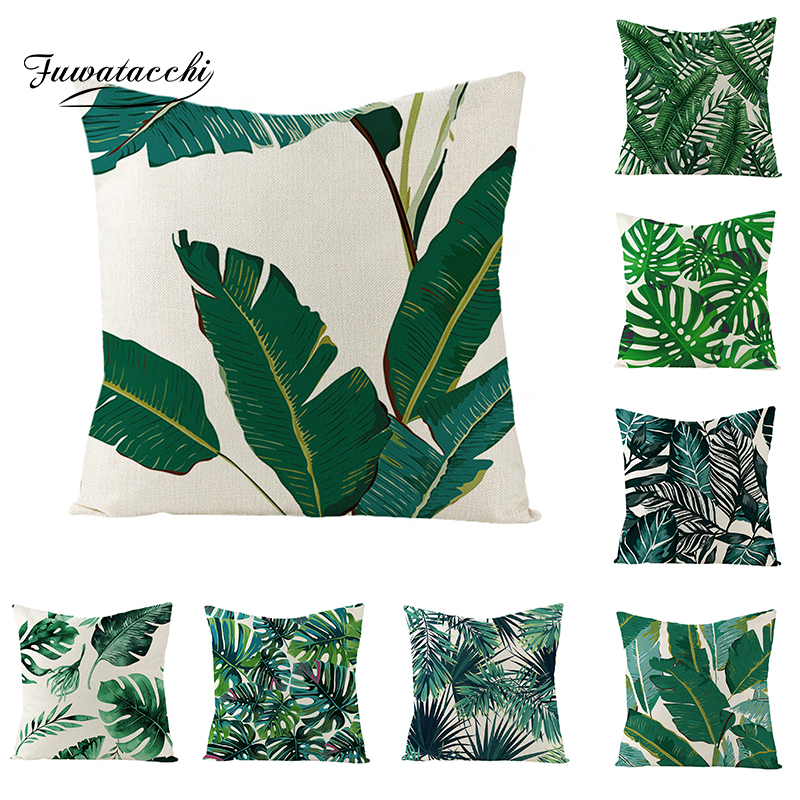 Fuwatacchi Linen Plant Cushion Cover Palm Leaves Trees Throw Pillow Cover Green Tropical Plant Pattern Square Linen Pillowcases(China)