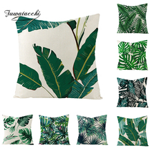 Fuwatacchi Linen Plant Cushion Cover Palm Leaves Trees Throw Pillow Green Tropical Pattern Square Pillowcases