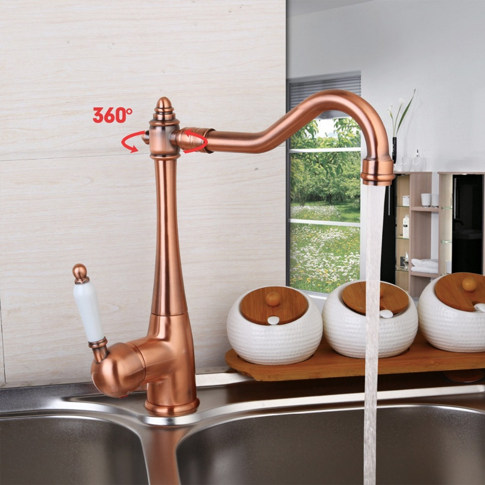 Stock 5 Years Warranty Antique Copper sink basin hot and cold Mixer Tap rotating Kitchen Faucet