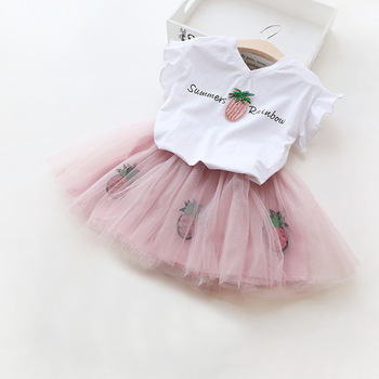 2017 Summer Baby Girls Clothes Sets Children Clothing Sport Suit Christmas Outfits Short Sleeve T-shirt+Tutu Skirt Kids Clothes conjuntos casuales para niñas