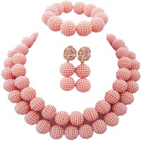 Fashion Cheap African Peach Jewelry Set Nigerian Wedding Accessories Wholesale 2C ZZ 11