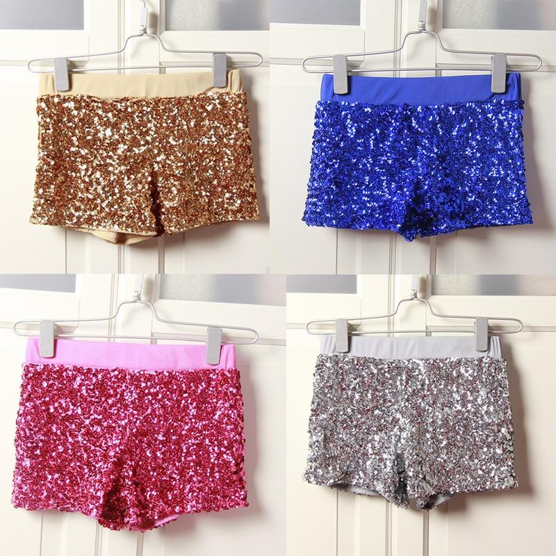 Kvinnor Sequins Shorts Elastisk Booty Kort Med Hög Midja Silver Svart Guld Red DS Hip Hop Jazz Sparke Shorts Outfit