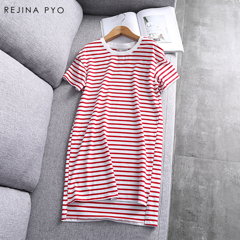 RejinaPyo 2018 New Arrival Women Basic Striped Dress Short Sleeve O-neck Female Casual Straight Mini Dresses