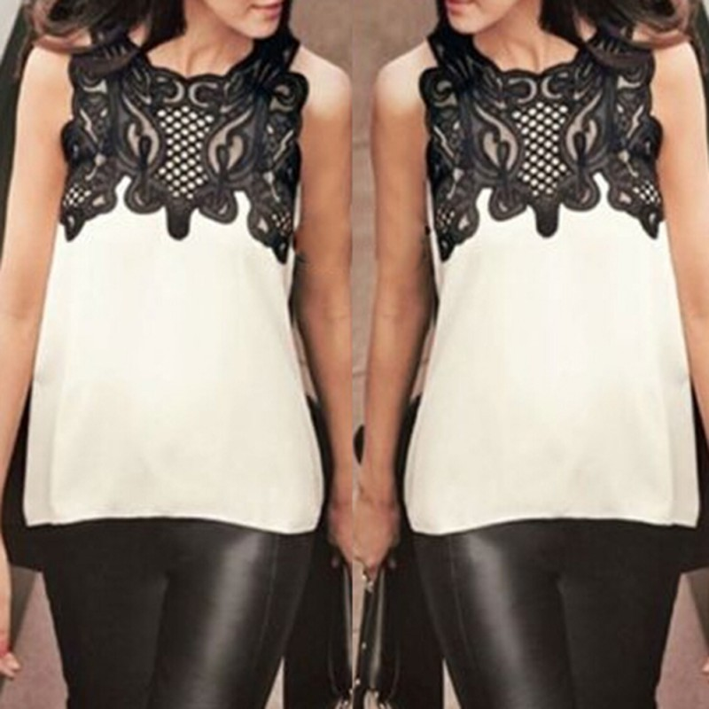 Wholesale Vogue Women's   Blouse   Casual Sleeveless Chiffon   Blouse     Shirt   Summer Tops