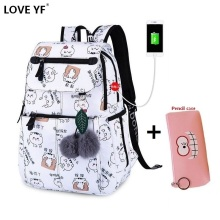 Girl White anime pattern backpack High quality nylon USB Charging jack backpack Student laptop school bag student backpack