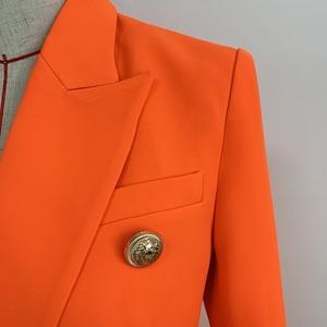 Image 4 - HIGH QUALITY Newest 2020 Designer Blazer Womens Lion Buttons Double Breasted Blazer Jacket Neon Orange
