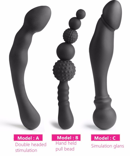 3 size choose silicone anal plug double head anal dildo butt plug anal dilator beads prostata massage sex products for women man
