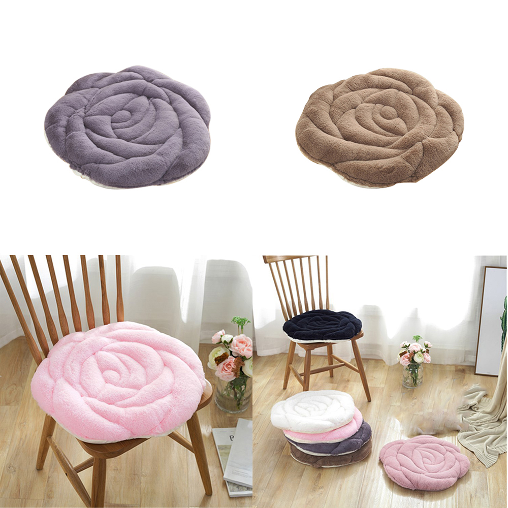 New 1PC Round Soft Rose Shaped Seat Cushion Japanese Style Home Floor Chair Decor Cushion Pad Car Mat Chair 55x55cm