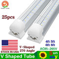 US Stock+Integrated Led Tubes V-Shaped 4ft 5ft 6ft 8ft Cooler Door Led Tubes T8 Double Sides Led Fluorescent Lights AC 85-265V