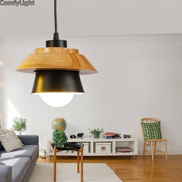 Moderno de madera de hierro colgante luces comedor lámpara colgante ...