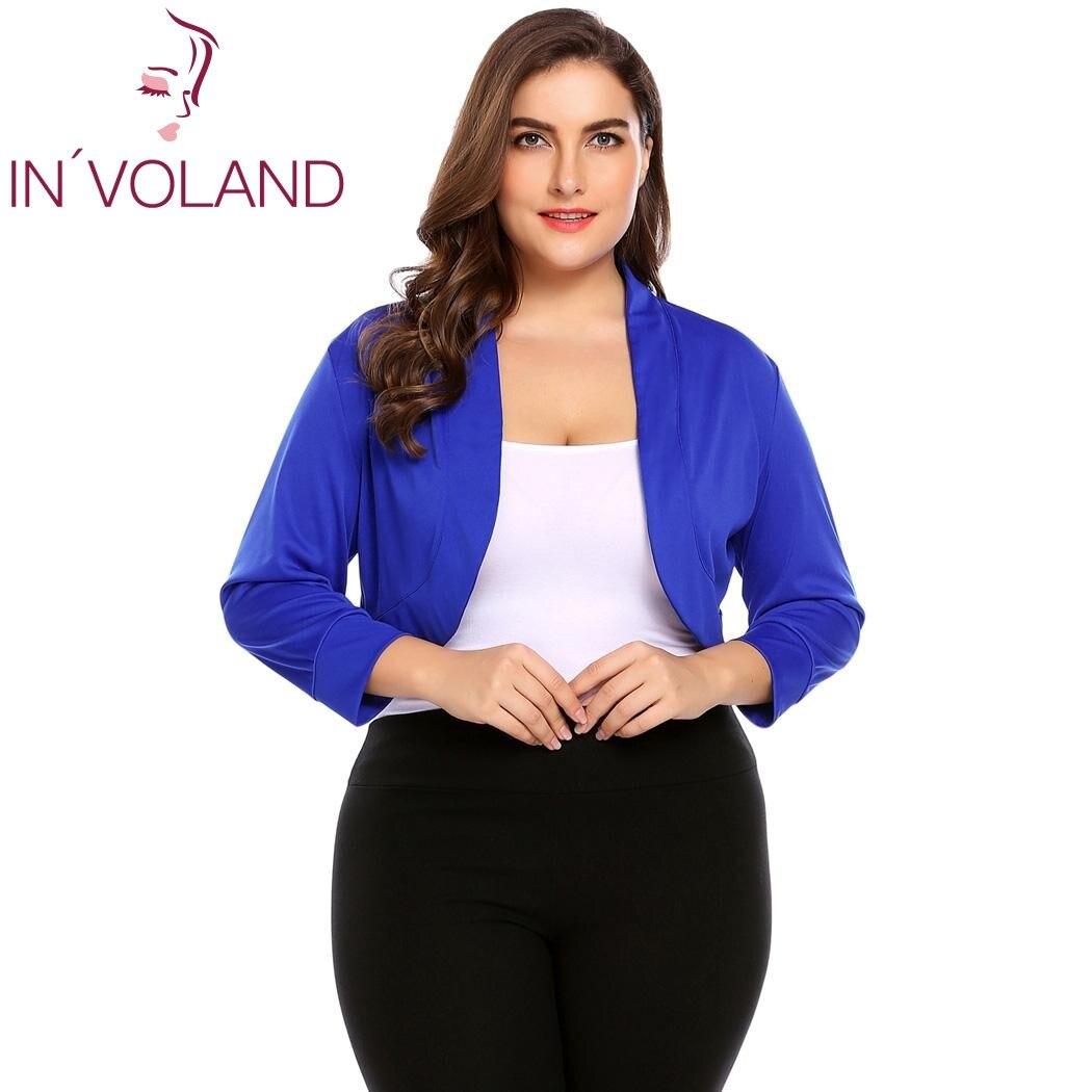 IN'VOLAND Women Short Shrug Top Big Size XL-5XL Autumn 3/4 Sleeve Cropped Bolero Party Large Feminino Sweater Cardigan Big Size